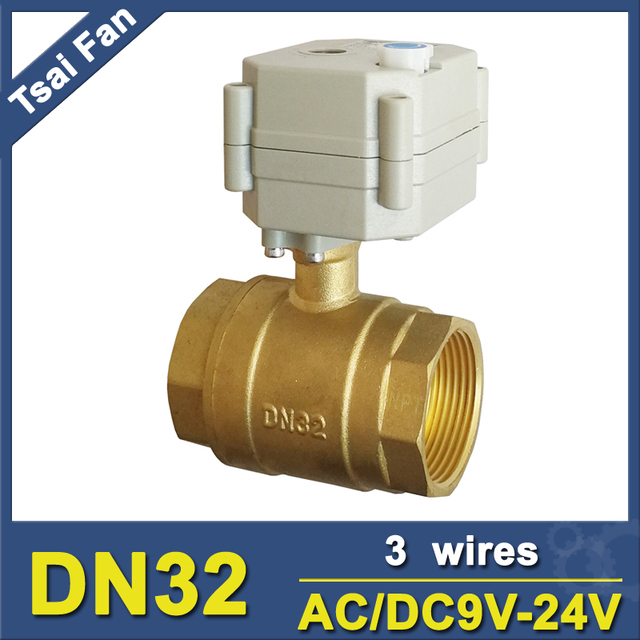 1-1/4'' AC/DC9V-24V 3 Wires Motorized Ball Valve 2 Way DN32 Electric Motor Operated Valve With Indicator And Manual Override