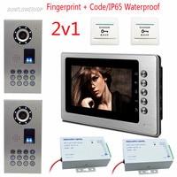 2v1 Fingerprint Code Video Door Phone Wired IP65 Waterproof Video Intercom Door Color 7 Color Metal