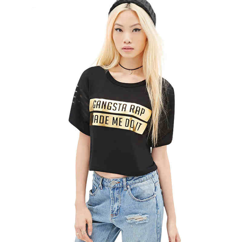 Luxury Gilt Letters Print Women T Shirts Sexy Crop Top -9146