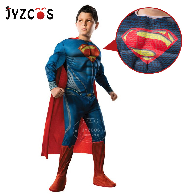 JYZCOS Superman Costume for Boys Kids Halloween Superhero Cosplay Costume Christmas Purim Carnival Costume Party Fancy Dress