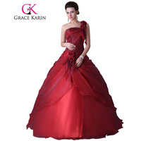 2015 Grace Karin One Shoulder Ball Gowns Dress For 15 Years Cheap Red Quinceanera Dresses Sweet