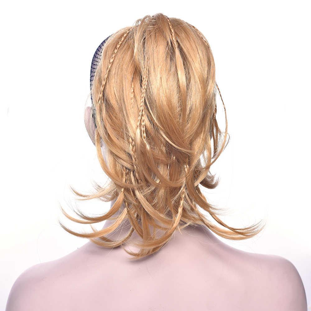 Soowee короткая накладка с вьющимися волосами Синтетические волосы блонд черный клип в наращивание волос маленький хвост пони коричневые накладные хвостики на зажиме