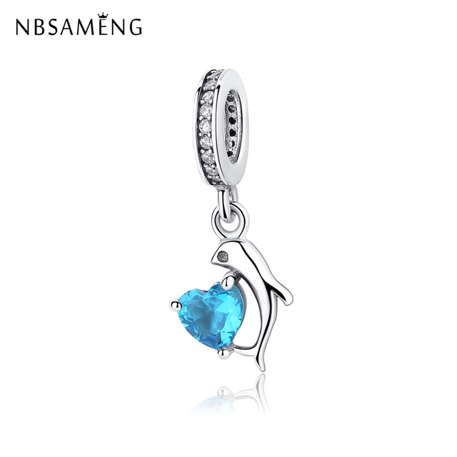 ecb3e8ecb4d US $11.5 |Authentic 100% 925 Sterling Silver Beads Charm Romantic Blue  Heart Dangle Charms Fit Original Pandora Bracelets Women Jewelry-in Beads  from ...