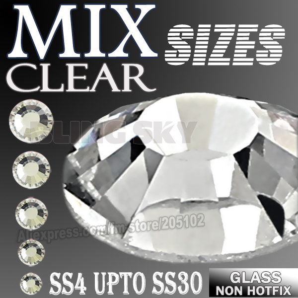Clear Mix Sizes SS3-SS10 SS4-SS30 Rhinestones para uñas arte decoración No Hot Fix cristales brilla DIY decoración lentejuelas manicura