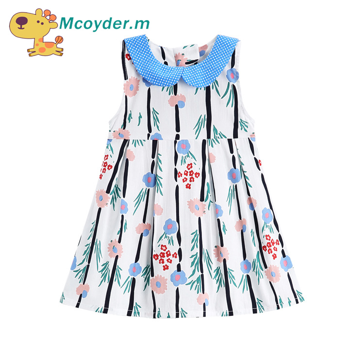Baby Girls Dress 2018 Summer Sleeveless Sundress Flower Pattern Baby Girls Vest Dresses Fashion Children Clothes Kids Costumes