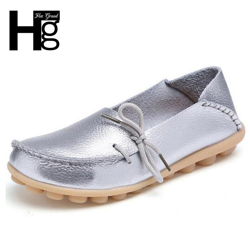 HEE GRAND Gold Sliver Genuine Leather Women Shoes Causal Soft Woman Flats Comfort Female Moccasins Sapatilhas Femininos XWD756 cangma 2017 italy designer original flats shoes woman genuine leather superstar women casual gold classic shoes sapato femininos