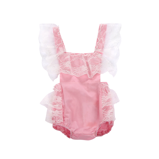 Pudcoco Infant Baby Girl Clothes Lace Fly Sleeve Pink Romper Kids