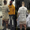 2016 Summer Hip Hop Justin Bieber Purpose Tour T-shir Mens Tee Clothes Men Fear Of God Letter Print Casual Tshirt Homme Us Size