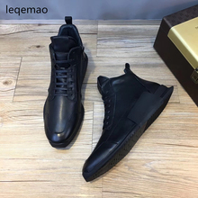 Shoes - Mens Shoes - New Fashion Men Basic Lace-up Winter Warm Fur Sneakers High-Top Black Genuine Leather Luxury Brand Man Flats Casual Shoes 38-44