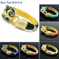 High Quality Austrian Crystals Enamel Animal Jaguar Panther Leopard Bracelet Bangles For Women Jewelry 6 Color