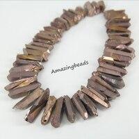 Approx 48pcs Strand Of Titanium Bronzed Color Quartz Crystal Point Beads Tusk Shape Graduated Quartz Pendant