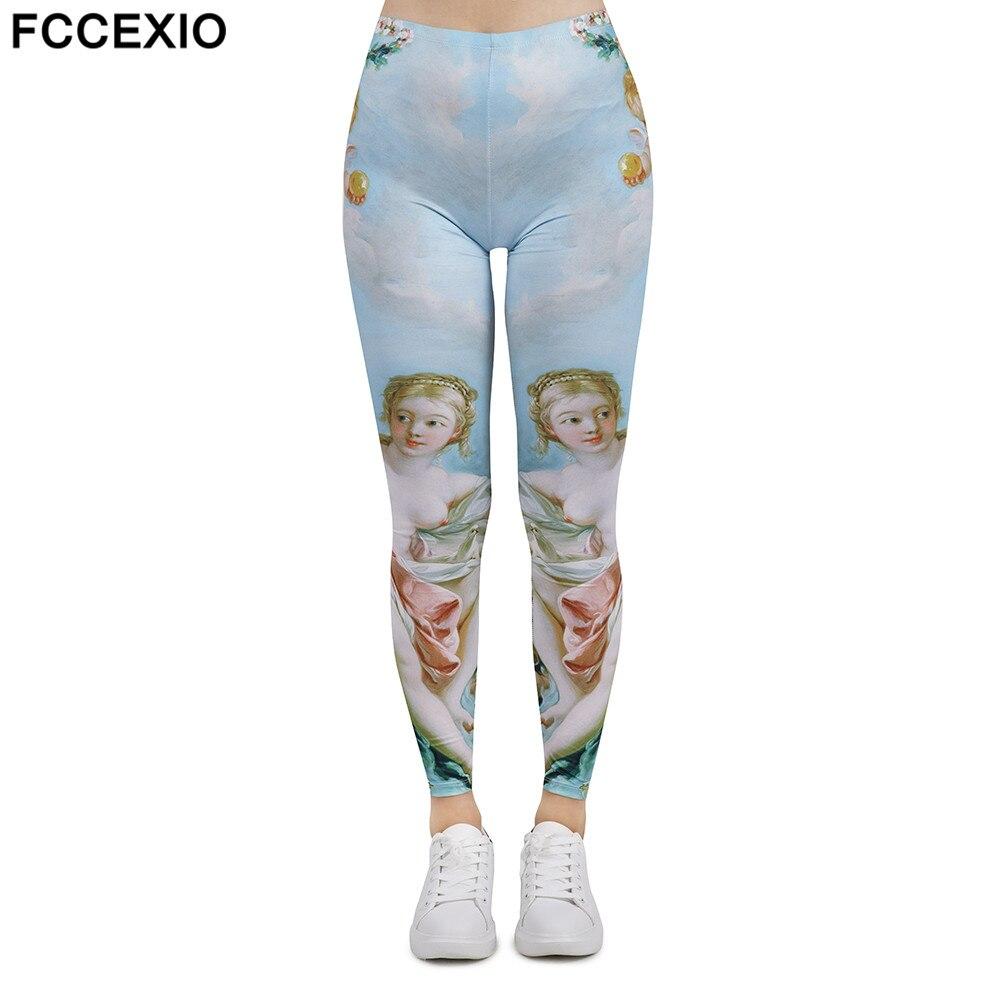 FCCEXIO Women New Leggings High Waist Fitness Legging Venus Print Leggins Female Pants Workout Leggings Slim Sporting Trousers Price $11.99