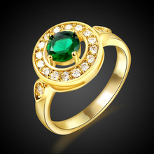 ROXI Ladies Luxury Fashion Women Jewelry New Charming Racket Shaped Gold Color Green Stone Filled Wedding Engagement  Ring