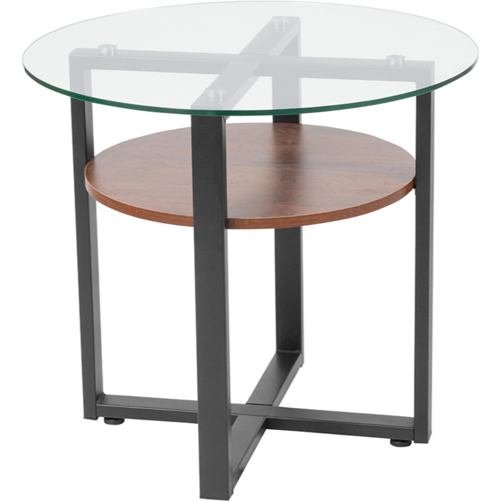 Glass Side Table with Rustic Oak Wood Finish and Black Metal Legs цена
