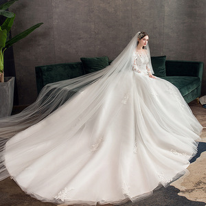 Image 5 - 2019 New Classic Off White O Neck Long Sleeve Wedding Dress Simple Lace Embroidery With Train Custom Made Slim Bridal Gown L