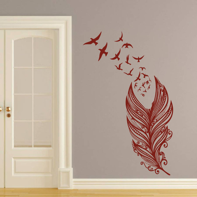 Aliexpresscom Buy Feather With Flying Birds Special Wall Murals - Vinyl stickers designaliexpresscombuy eyes new design vinyl wall stickers eye wall