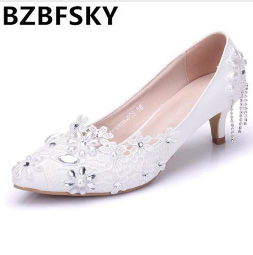 BZBFSKY Elegant Flower Pearl Bridal Shoes 2018 Beaded Lace White Wedding Shoes Women Dress Pumps Pointed Toe High Heels fashion white lady peep toe shoes for wedding graduation party prom shoes elegant high heel lace flower bridal wedding shoes