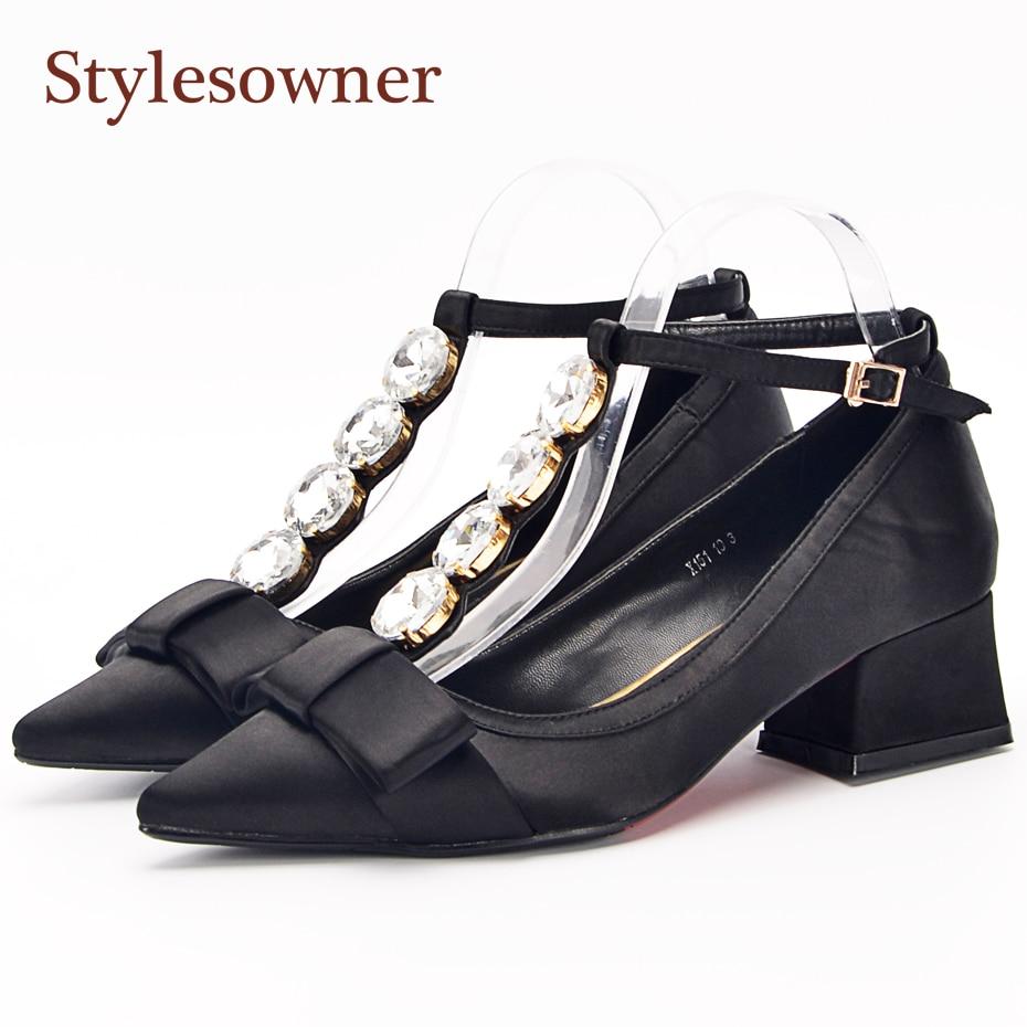Stylesowner Black Beige Satin Women Shoe Comfortable Pointed Toe Bowtie T-strap 2018 Spring Single Shoes OL Big Stone Pumps mccarthy t satin island