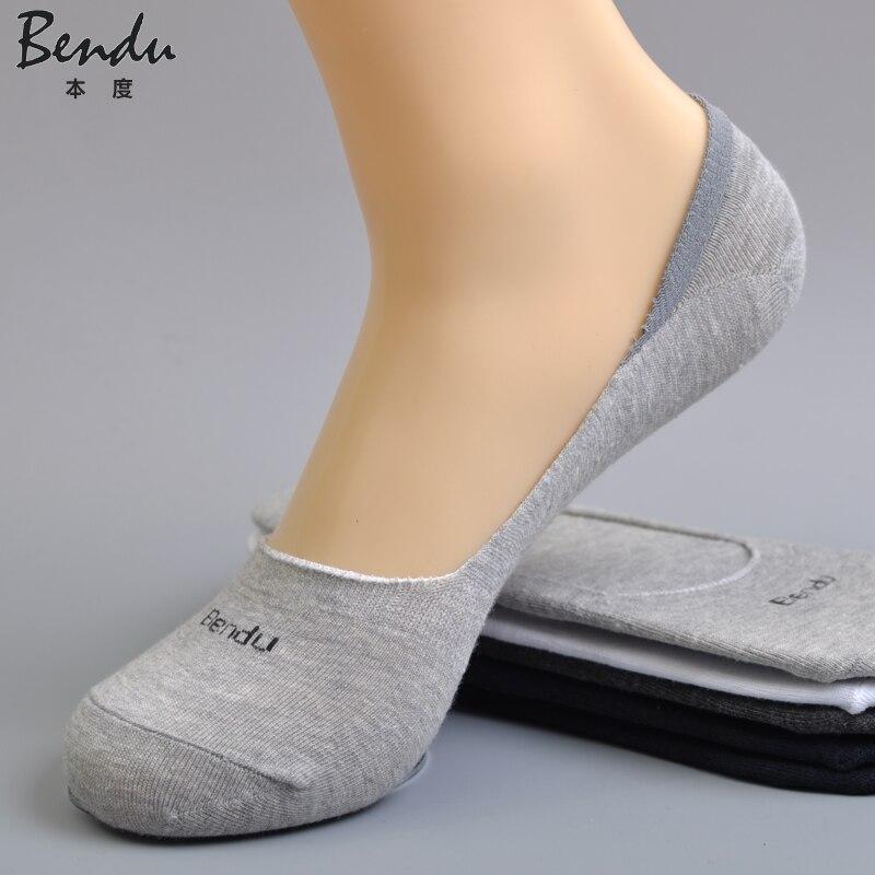 5 Pairs / Lot Bendu Men Cotton No Show Socks Slippers Brethable Anti-Bacterial Deodorant Brand Guarantee Guarantee Man Sock