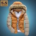 Съемный искусственного меха с капюшоном хлопок ватные теплые куртки мужские мужчины цвет блока куртки мужской новая осень зима бесплатная доставка