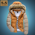 Detachable Faux Fur Hooded Cotton Wadded Warm Man Jacket Men Color Block Jackets Male Coat New Autumn Winter Free Shipping