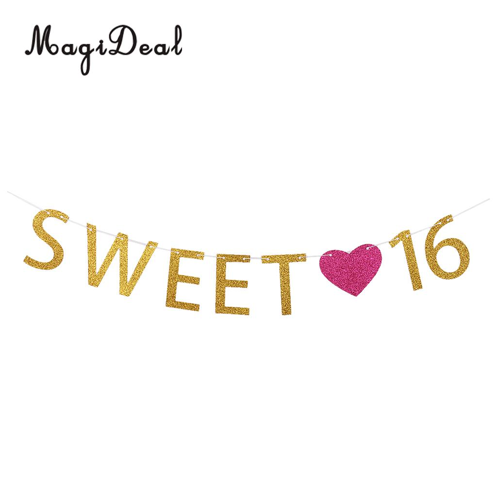 2m 16th Happy Birthday Garland Girls Sweet 16 Letters Rose