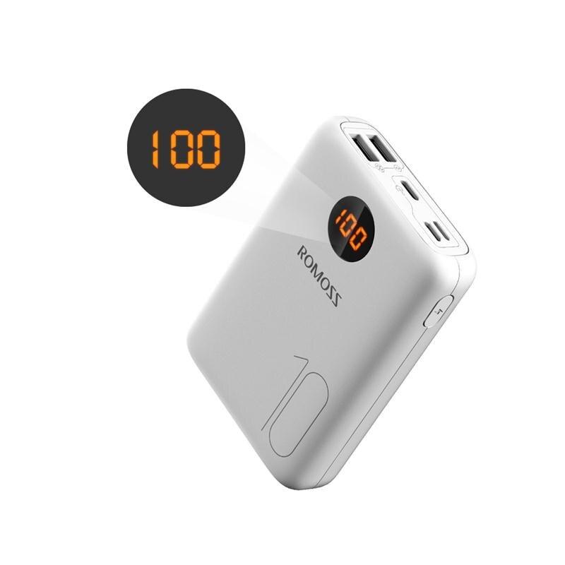 ROMOSS OM10 10000 мАч Внешний аккумулятор с двойным usb-портом, внешний аккумулятор, размер для путешествий, портативное зарядное устройство для планшета iPhone - Цвет: White