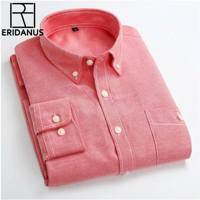 25e80be58 حلوى لون قميص رجالي أوكسفورد الكلاسيكية قميص قطني بكم طويل الأعمال اللباس  قمصان الاجتماعية الرسمية ماركة الملابس قميص أوم X154