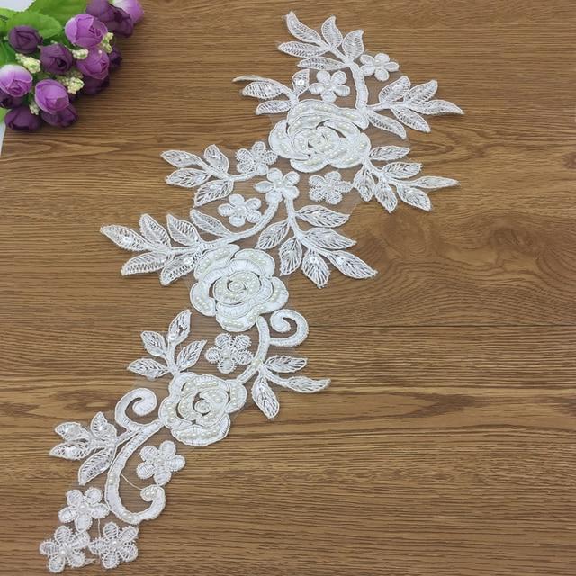 Black White bridal beaded lace Applique for wedding dress shoes floral lace  motif lace trims 5 pcs Lot 5ee540d82c31