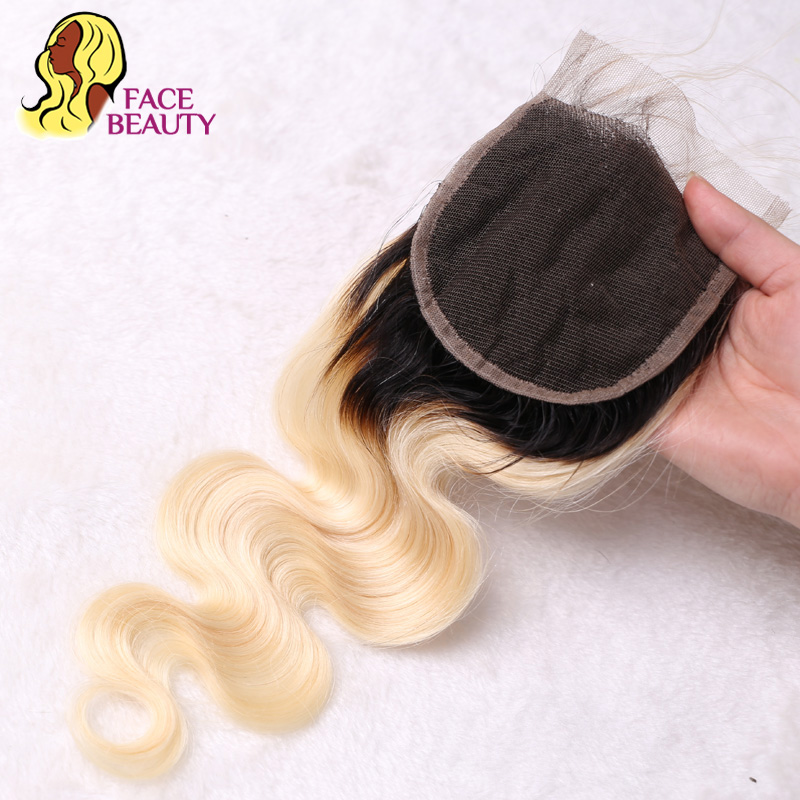 Facebeauty Brazilian Human Hair 2 Tone Dark Roots Ombre Blonde Hair 3 Bundles With Lace Closure Facebeauty Brazilian Human Hair 2 Tone Dark Roots Ombre Blonde Hair 3 Bundles With Lace Closure 1B/613 Body Wave Color Hair Weft