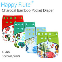 HappyFlute Charcoal Bamboo Pocket Cloth Diaper with double leaking guards,waterproof and breathable,S M L adjustable