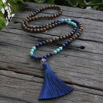 Ожерелье с тигриным глазом и Lapis Lazuli Mala, диаметр 8 мм, с оптимизмом, JaPaMala, 108 шарик мала, Mala ювелирных изделий, Mala