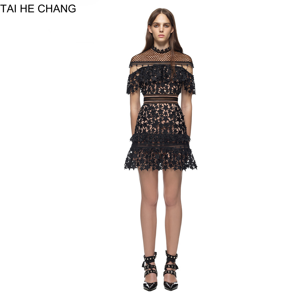 women autumn  high-end custom fashion elegant vestidos bodycon sexy black star mini runway summer lace dress 8020199090