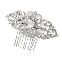 Fashion Hair Comb Clear Rhinestone Crystal Silver Tone Flower Women Wedding Bridal Hair Pins Accessories Wholesale