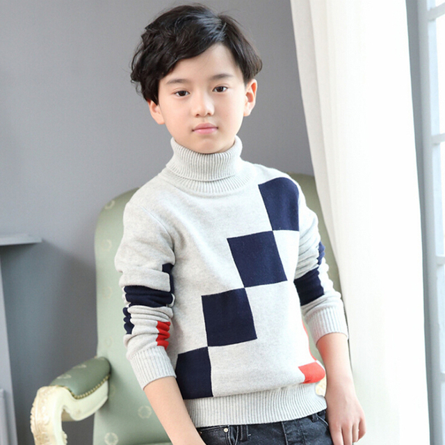 Big boy sweater new 2016 children winter  turtleneck sweater coat for teenagers cotton head fashion render unlined upper garment