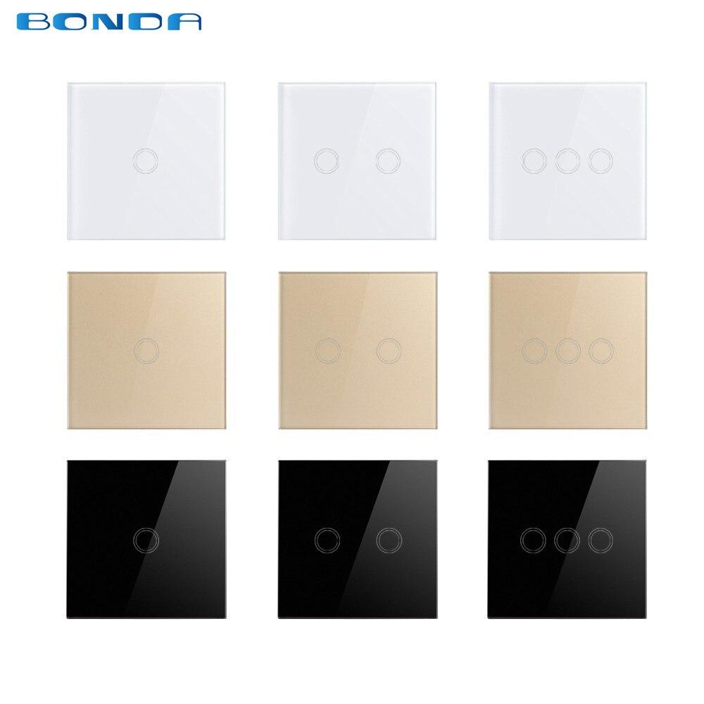 EU/UK Standard Bonda Wall Switch, Light Touch Switch 2 Gang 1 Way AC110V-240V Wall Touch Switch