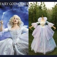 New 2015 Custom Made Adult Women Halloween Cosplay Costumes Princess Wedding Party Blue Cinderella Fairy Online Godmother Dress
