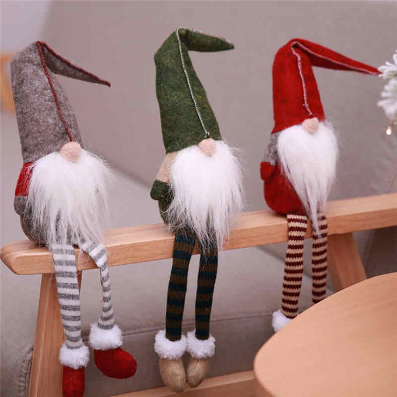 Natal Elf Noel Duduk Berkaki Panjang Festival Tahun Baru Pesta Makan Malam Navidad 2018 Dekorasi Natal untuk Rumah