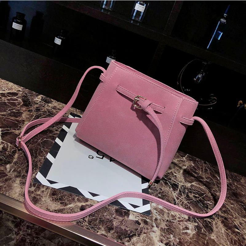Women\'S Handbags Vintage Messenger Bag Scrub PU Bucket Shoulder Bags Pu Leather Females Crossbody Bags Bolsas Feminina