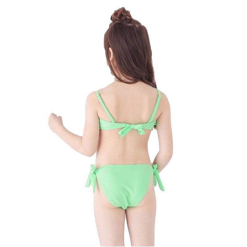 de2406a762 2018 Child Folds Halter Bandeau Bikini Set Swimwear Girl Skirted Swimsuit  Swim Bathing Suit Bather Tanga Teen kid Baby Beach-in Bikinis Set from  Sports ...