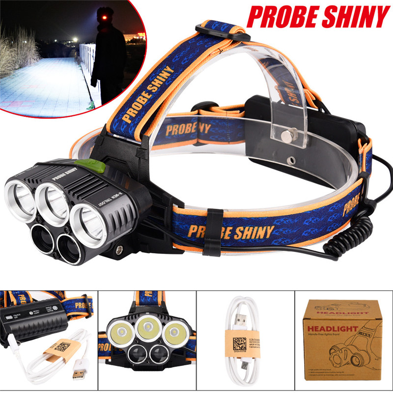 25000LM 5X XML T6 LED Rechargeable 18650 USB Headlamp Outdoor Cycling Bicycle Bike Front Headlight Head Light Torch  M25 lumiparty 4000lm headlight cree t6 led head lamp headlamp linterna torch led flashlights biking fishing torch for 18650 battery