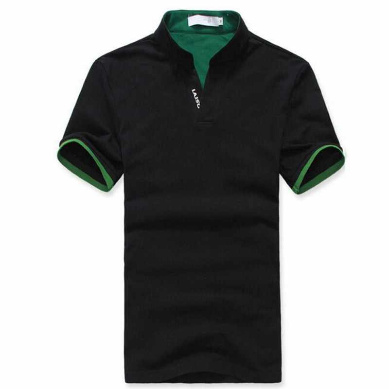חדש לגמרי 2016 גברים דש חולצה קצר שרוול טי חולצה בתוספת גדלים M L XL XXL 3XL