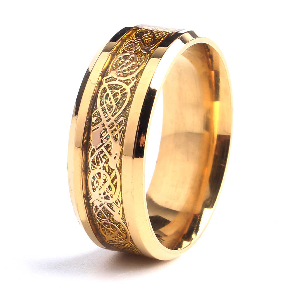 free shipping 8mm gold color carbon fiber dragon 316L Stainless Steel rings for men women wholesale