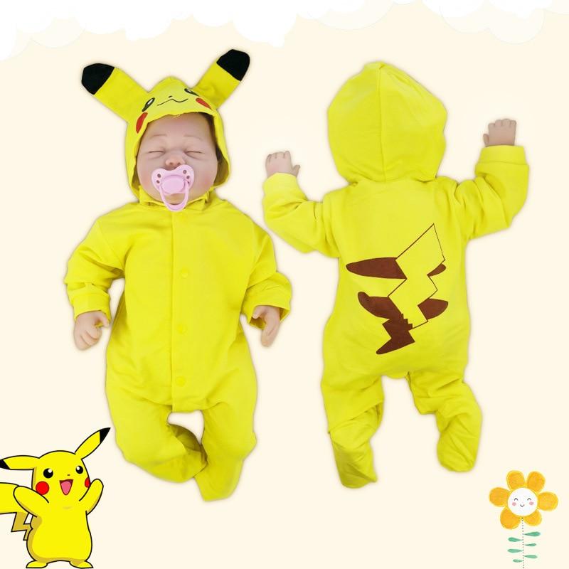 Hooded Pikachu baby   rompers   cartoon lovely jumpsuit for newborn babies spring autumn bebe roupas bodykit baby onesie