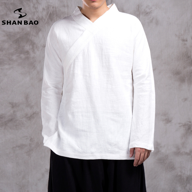 2e4ad52e4113 SHANBAO brand autumn winter original brand men's casual V-neck long-sleeved  T-shirt Chinese style linen loose T-shirt 6 colors