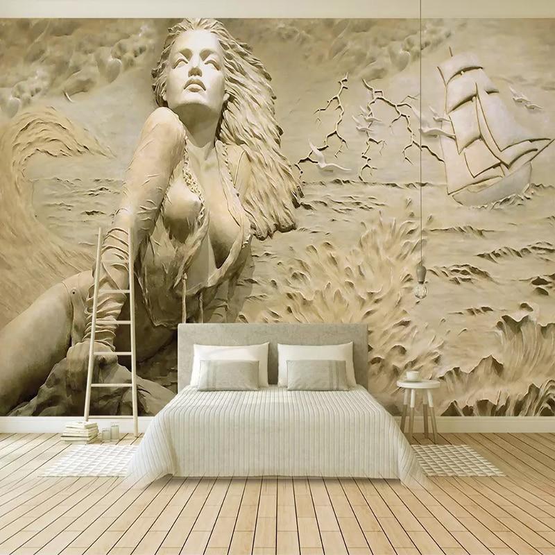Custom Wall Mural Art Wall Painting European Style Golden 3D Stereoscopic Relief Sea Wave Sailboat Beauty Photo Wallpaper Murals