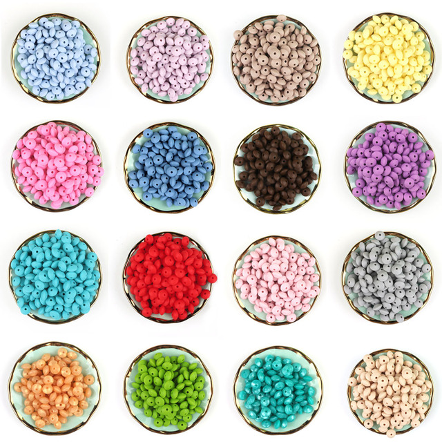 * 500Pcs Silicone Lentil Abacus Beads 12mm Baby Teething Beads BPA Free Baby Teether Necklace Pendant Pacifier Chain Tools