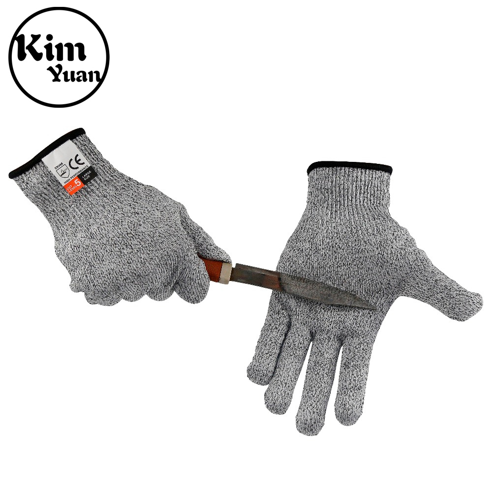 KIM YUAN 018 Chef And Butcher Cotton+Silicone Material Breathable Anti-Cutting Work Gloves White Black Men&Women Free Shipping