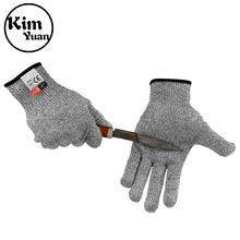 KIM YUAN 018 Chef And Butcher Cotton+Silicone Material Breathable Anti-Cutting Work Gloves White Black Men&Women Free Shipping kim yuan 019 green garden leather work gloves anti slippery