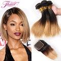 Brazilian Two Tone Virgin Straight Hair Weave With Closure Ombre 3 Tone Straight Hair With Closure Ombre Human Hair With Closure